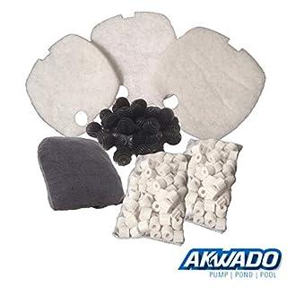 AKWADO Ersatzteil Filtermedien-Set für HW-302 Aquarienfilter 3 Kammer