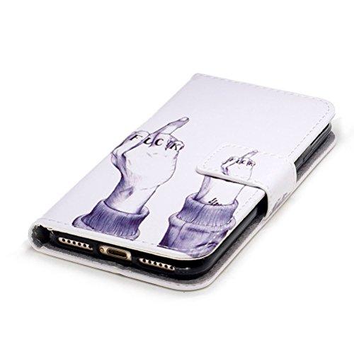 Custodia iPhone 7, Cover iPhone 7, ISAKEN Flip Cover per Apple iPhone 7, Elegante borsa Bookstyle Design Flip Caso in Sintetica Ecopelle PU Pelle Protettiva Portafoglio Wallet Case Cover con Supporto  Fuck