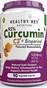 HealthyHey Nutrition Curcumin with Bioperine 1310mg (Ultra Pure) | Organic Turmeric, 90 Vegetable Capsules wit