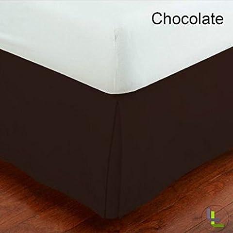 Scala 1pcs Box Jupe plissée de lit(Chocolat Solide , UK simple (3 pi x 6 pi 3 po ) , Drop Length 40cm) 100% Coton égyptien Haute Qualité 300 Le fil compter