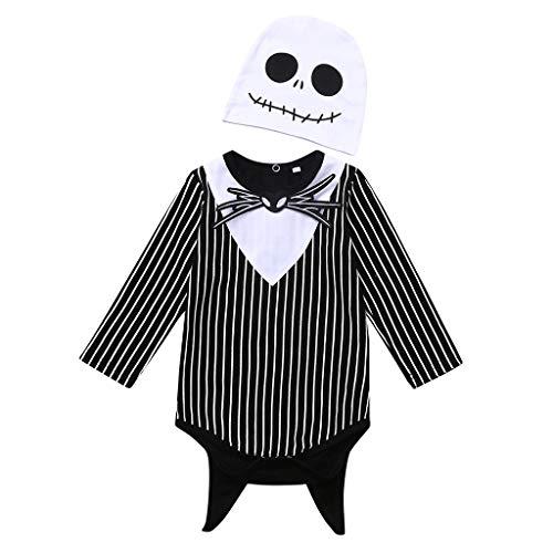 Neugeborenes Baby Mädchen Print F ermaus Dämon Halloween Hooded Romper Jumpsuit Kostüm, Gestreifter langärmeliger Halloween-Dämonenf ermaus-Overall für Kinder (Teufel Dämon Kostüm)
