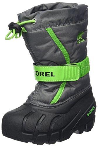 Sorel Childrens Flurry, Kinder Schneestiefel, Grau (Quarry, Cyber Green), 25 - Sorel Regen Stiefel