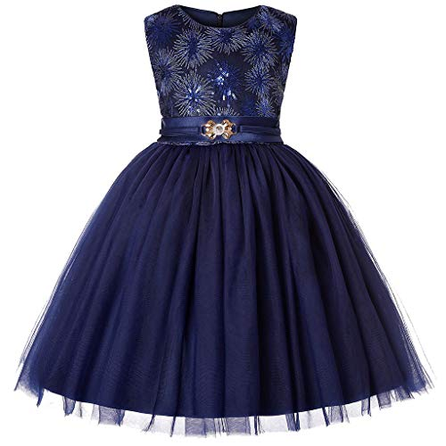 009106ac8b6a2 GongzhuMM Mode Chic Jupe Tulle Fille Robe Tutu sans Manches Robe Soiree  Paillette Couleur Unie Robe