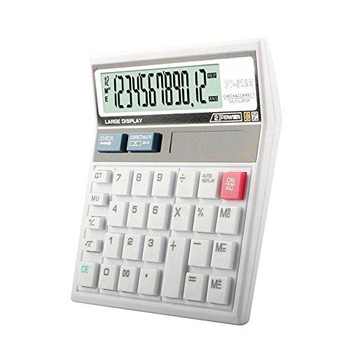 Dixinla Hesap makinesi 12-Bit-Anzeige Weiß Solar Schreibtisch Gesicht Buchhaltung Doppelstromversorgung