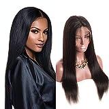Perruque 360 Lace Frontal Brésilienne Lace Wig Court Cheveux Bresilien Humain Lisse Naturel Noir Femme Remy Hair avec Baby Hair...