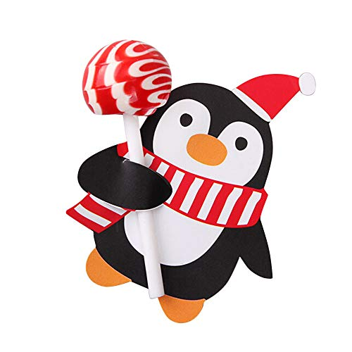 Mitlfuny 100xLollipop Dekorationen,Weihnachtsmann Pinguin Lutscher Lollipop Weihnachtskarte Lolly Zuckerhut Xmas Party Dekorationen Geschenk