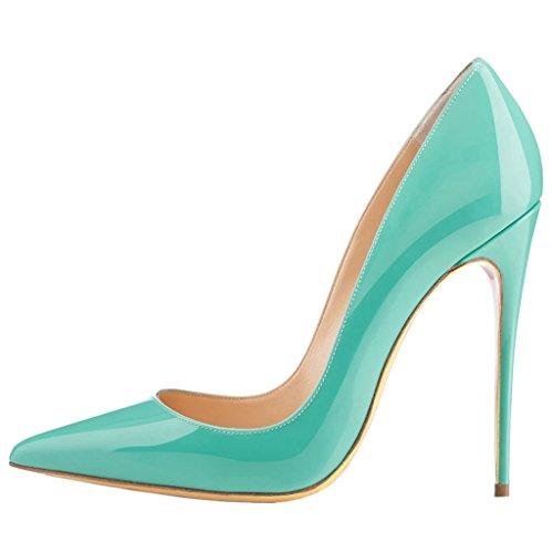 Eks - Grün-lackleder Chaussures Pour Femmes À Talon