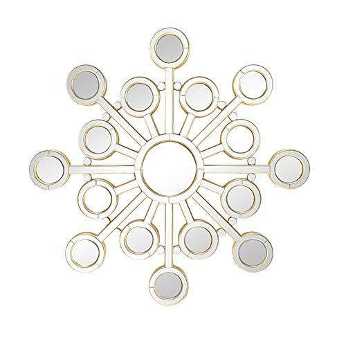 Cqing Espejo de Pared de Madera Circular Moderno