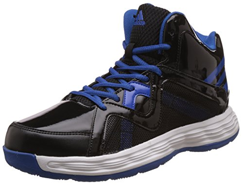 Adidas Men's Sentry Black And Blubea Leather Basketball Shoes