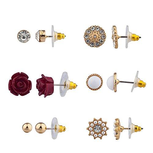 lux-zubehr-rot-rose-ebnen-disc-faux-pearl-flower-blumen-mehrere-ohrstecker-ohrring-set