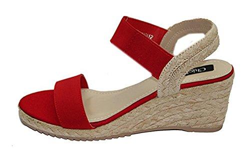 Sandale d'été compensée avec corde Rouge
