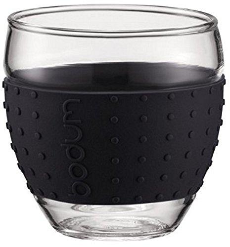 Bodum PAVINA 2-teiliges Gläser-Set (Rutschfester, farbiger Silikonring, 0,35 liters) schwarz
