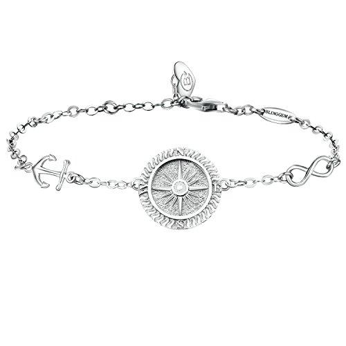 BlingGem Kompass Armband Damen Egal Wo 925 Sterling Silber Scheibe Armband Richtung Gravur Valentinstag Geschenk für Damen/Frauen