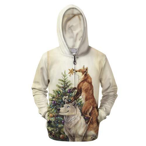 Ai Ya-weiyi Hoodies Zip Hoody Loup Hommes Femmes Sweatshirt Survêtement Drôles Pull Manteau Fermeture Éclair 3D