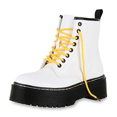 SCARPE VITA Damen Stiefeletten Plateau Boots Leicht Gefütterte Outdoor Stiefel 174275 Weiss Gelb 38