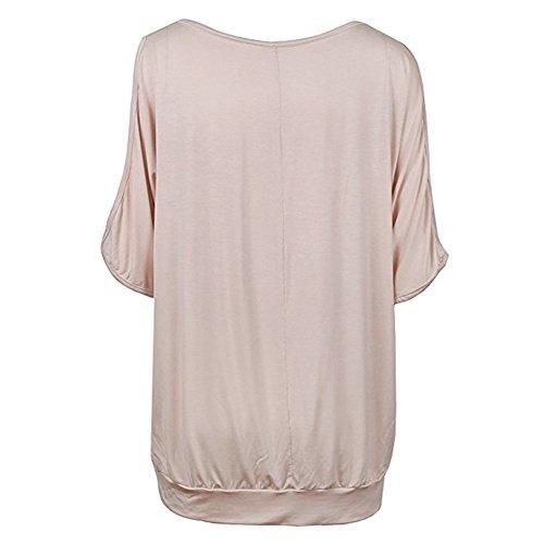 Hibote Femme chemise Plus size Tshirt Femmes Chemisier à manches courtes Casual Sling Tops Floral Imprimer chemises lâche Top Doux Confortable Beige