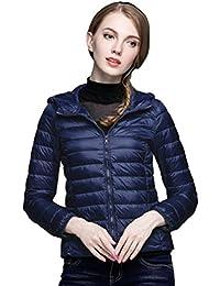 Baymate Mujer Casual Chaqueta de Plumón Con Capucha Slim Abrigo Ligero Compresible Chaqueta de Plumas Abajo Corto