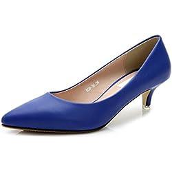 fereshte , Damen Durchgängies Plateau Sandalen mit Keilabsatz , blau - blau - Größe: 39