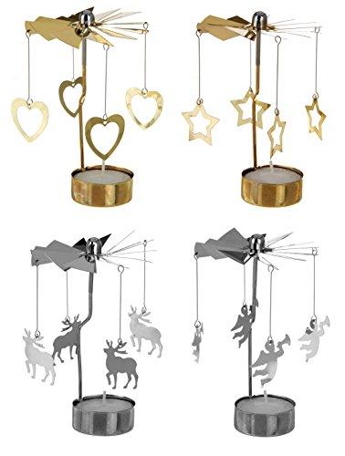 matrasa Teelicht Karussell - Kerzenkarussell Weihnachten - Silber Rentier