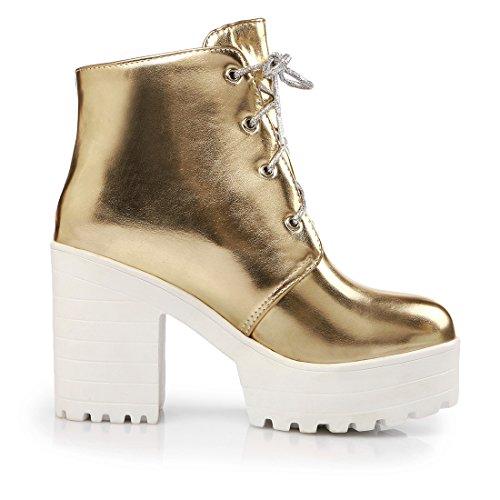 de Chaussures à avec Simple Talons Femmes UH Cuissarde Bloc Or Bottines Plateforme Moyen et Lacet Chic 5qXOt