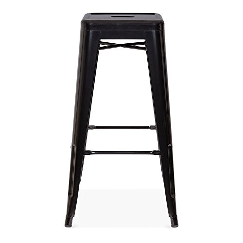 Cult Furniture Xavier Pauchard Tabouret de Style Tolix Mate Brillant - Noir 75cm
