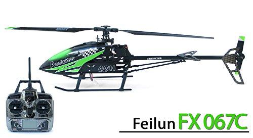 efaso FX067C - Helikopter Feilun - 2,4 GHz 4-Kanal Single-Rotor Hubschrauber Flybarless ohne Stabistange, 61 cm groß, Fernsteuerung mit Display