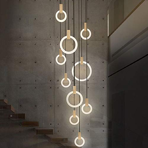 ZMH LED Pendelleuchte Kronleuchter Hängeleuchte 76W 10-Led Ring Pendellampe Hängelampe Treppenleuchte aus Holz und Acryl geeignet für Halle, Wohzimmer, dreh Treppe, Schlafzimmer, Hotel, Cafe
