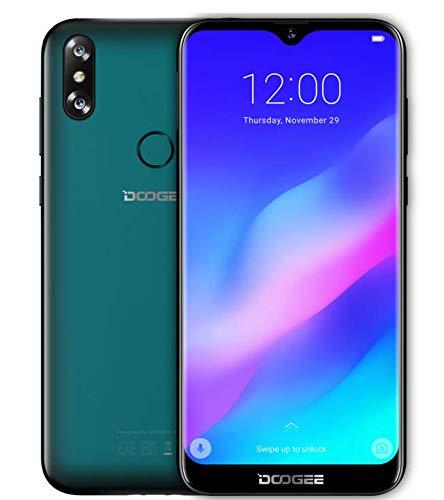 DOOGEE Y8 Android 9.0 4G LTE Smartphone ohne Vertrag, 6,1 Zoll Wassertropfen Bildschirm (90{28b9351b06eedaef7e49c8890cb8f763d78cb1239616a9a64729215b88d7f0a6} Bildschirmverhältnis), 1,5GHz 3GB+16GB, Gesichtserkennung + Fingerabdruck - Smaragd Grün