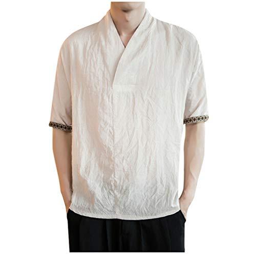 BoyYang ✿ Herren T Shirt ✿Kurzarm Shirt V-Ausschnitt Baumwolle und Leinen Poloshirts Herren Fit -Stück V-Ausschnitt Sweatshirt Unterhemd (Ralph Lauren Polo 1 4 Pullover)