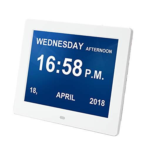 LIGHTOP Uhr Digital Wecker 8 Zoll Upgrade von Alarm Uhr Kalender Tag und Stunde Abkürzung Buchstaben in 9 hochwertige Sprache großes Display Fernbedienung Gelesen Werden Uhr