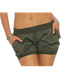 malito Pantalón cortos a Liso Color en élastico Cintura del Pantalón 6087 Mujer