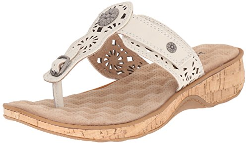 Softwalk Beaumont Laser Large Cuir Tongs Off White