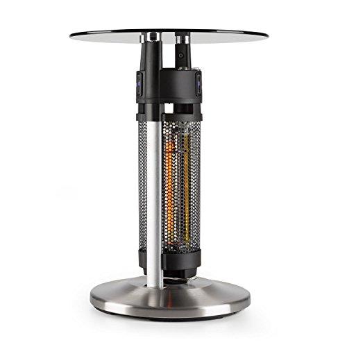 Blumfeldt Primal Heat 65 • Bistrotisch-IR-Heizer • Infrarotheizung • Standheizung • IP44-Schutzart • 1200 Watt • Infrarot-Annäherungssensoren • Höhe: 65 cm • mit Sicherheitsglas-Tischplatte • silber