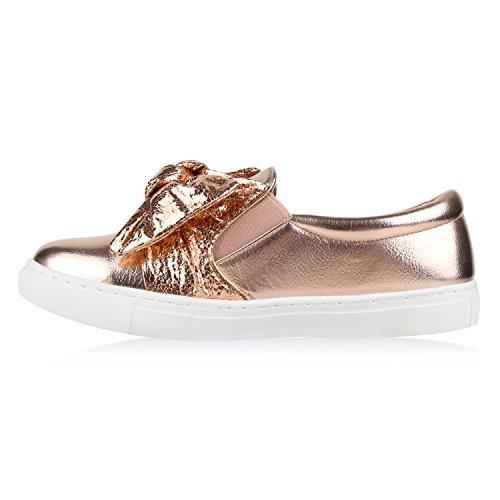 Damen Slipper Sneakers Slip-ons Lederoptik Schuhe Schleifen Rose Gold Glanz Schleife
