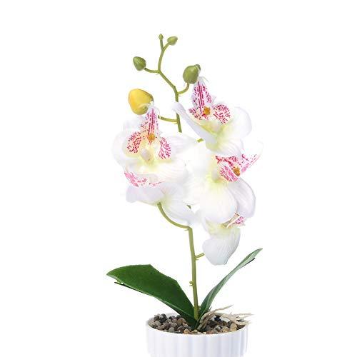 Man9Han1Qxi 1 stück künstliche Blume Butterfly Orchidee Garten DIY bühne Party Home hochzeitsdekor White (Hängende Orchidee Pflanzer)