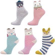 Calcetines de Algodón para Niñas Novedad Diseños Calcetines, Animalitos estampados con orejitas en relieve,
