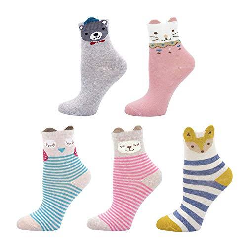 CaiDieNu Kinder Socken 5er Pack für Mädchen Strümpfe Bunt Gemustert Baumwollsocken Nette Karikatur Tier, 2-11 Jahre, 5 Paare