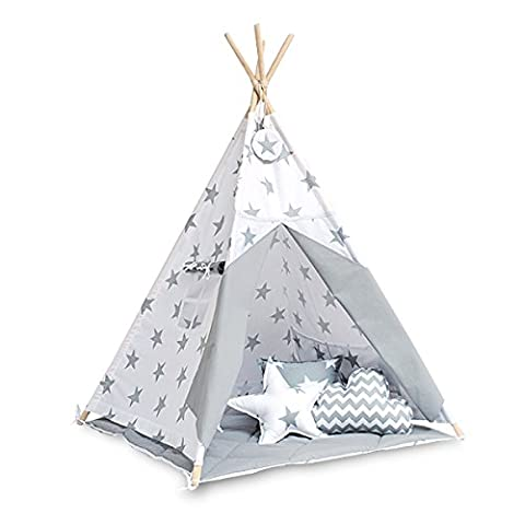 Teepee tent with floor mat and pillows - Bright Grey