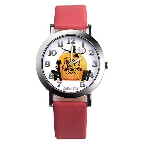 Feida Kürbis-Armbanduhr, Halloween, 1 Stück, Kunstleder, analog, Ziffernanzeige Halloween Rose