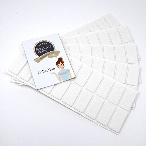 Adsamm 100 x Filzgleiter | 20x40 mm | Weiß | rechteckig | selbstklebende Möbelgleiter in Top-Qualität