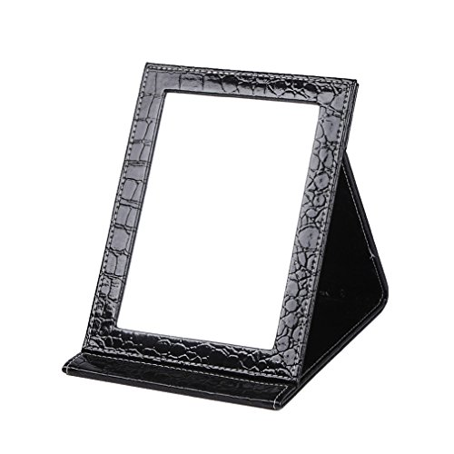 rnow-deluxe-pu-leather-desktop-large-makeup-cosmetics-personal-beauty-folding-mirrors-black