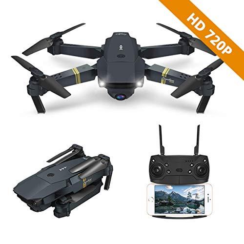 Drone con fotocamera, E58 WIFI FPV quadcopter con 2MP 720P grandangolare fotocamera live video mobile APP controllo pieghevole altitudine attesa modalità selfie Pocket RC elicottero RTF