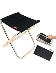 Portable Folding Stool Foldable Small Oxford cloth Chair Outdoor Fold up Lightweight Camp Aluminium Stools Seat for Camping Fishing Picnic BBQ Travel and Hiking