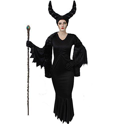 MALEFI = BÖSE STIEFMUTTER KÖNIGIN KOSTÜM VERKLEIDUNG = MÄRCHEN VERKLEIDUNG FÜR FASCHING UND KARNEVAL ODER HALLOWEEN = JEDES KOSTÜM BEINHALTET = DAS KLEID ERHALTBAR IN 7 GRÖSSEN + SCHWARZE HANDSCHUHE - Für Halloween Zauberin Make-up