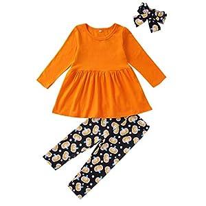 Baby Mädchen Kleid + Cartoon Kürbisse Print Hosen + Stirnband Outfit Set Kleinkind Kinder Trousers Tops Kleidung Set…