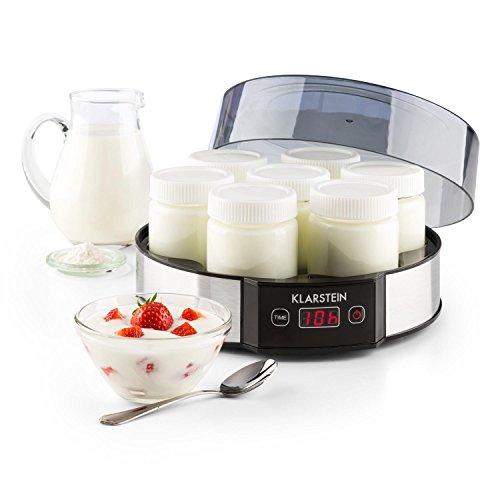 KLARSTEIN Milchstraße - Joghurtbereiter, Joghurt-Maker, 7 x 190 ml, Geschmacksecht, Glas, Timer, automatische Abschaltung, Edelstahl, Silber