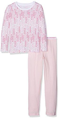 Calvin Klein Underwear Mädchen Zweiteiliger Schlafanzug Knit PJ Set (2PCS), Rosa (White Viva Pink PR/Unique M07), 146 (Herstellergröße: 10-12) -