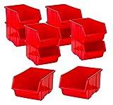 BigDean Stapelboxen Set 10 Stück Rot groß 220x350x165mm - Kunststoff Sichtlagerkasten stapelbar - perfekt für Ordnung in Werkstatt & Garage