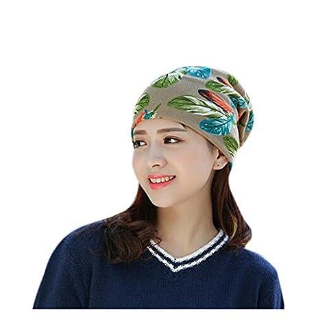 Ladies Beanie Hats, Transer® Women Stretchy Printing Turban Head Wrap Band Chemo Hat Bandana Pleated Caps Girls Solid Baggy Hood Cotton Hats (Khaki)