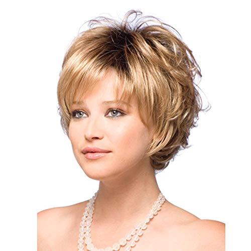 Layla Beauty Store Synthetische Ombre Kurz Gewellt Perücken Schwarz Wurzel Blond Party Kostüm Täglich Perücke mit Seitlich ()